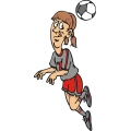 Female soccer player head butting the ball.