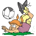 girl soccer player tripping over the ball.