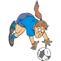 Girl soccer goalkeeper diving for the ball.