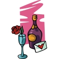champagne bottle and glass for valentine's day. gif, png, jpg