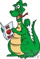 funny cartoon green dragon reading a valentines card