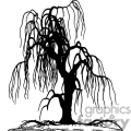 Silhouette of a weeping willow tree