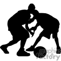 silhouette of two boys playing basketball