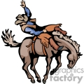 A Cowboy Riding a Bucking Horse