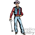 A Cowboy in a Blue Vest Holdign a Branding Iron