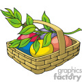Basket of food vector clip art image
