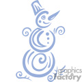 stylized snowman leaning with a top hat and a carrot nose
