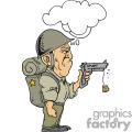Military guy shooting a cork gun