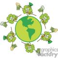 six happy shamrocks makes toast with green beer dancing around the globe gif, png, jpg, eps