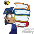 female african american graduate with books in her hands gif, png, jpg, eps