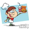 Fast Food Boy Chef Holding Up Hamburger Drink And French Fries