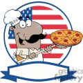 banner of a proud african american cook inserting a pepperoni pizza in front of flag of usa gif, png, jpg, eps