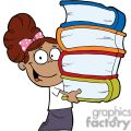 African American Girl With Pink Polka Dot Bow In Her Hair Carrying Books Books