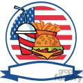 banner of a cheeseburger drink and french fries in-front of flag of usa
