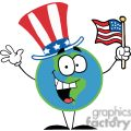 Globe Character with American Patriotic Hat And American Flag
