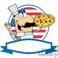 a banner of a happy male pizza chef with his perfect pie in front of flag of usa