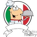 A Banner of Male Chef Serving Food In Platter In Front Of Flag Of Italy