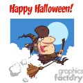 Happy Holidays Greeting With Witch rides broom copy1