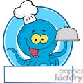 cartoon blue octopus chef holding a serving platter gif, png, jpg, eps