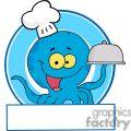 Cartoon Blue Octopus Chef holding a serving platter