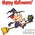 Happy Halloween Greeting with Little witch and black cat on a broom