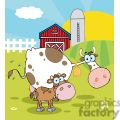 country farm scene cow with a little calf gif, png, jpg, eps