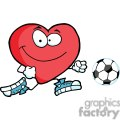 Healthy red heart character with a soccer ball