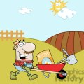 2474-Royalty-Free-Happy-Gardener-Drives-A-Barrow-With-Tools