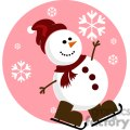 snowman with pink background and red Santa hat