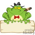 Cartoon-Frog-Mobster-With-A-Hat-And-Cigar-Over-A-Blank-Wood-Sign