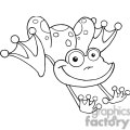 Cartoon-Happy-Hopping-Frog-BW