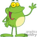 Cartoon-Frog-Mascot-Character-Waving-A-Greeting