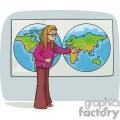 Cartoon student showing a map