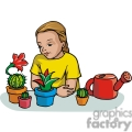 Cartoon student learning about plants and cactus