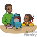 cartoon african american brother and sister students