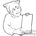 Black and white outline of a girl with her assignment