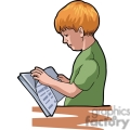 Cartoon boy interested in his book