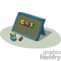 Cartoon blackboard with letters