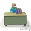 Cartoon student sitting at a desk