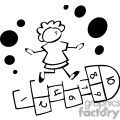 black and white outline of a little girl playing hop scotch
