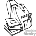 Black and white outline of a backpack and books
