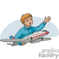 cartoon boy playing with an airplane