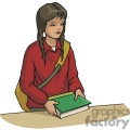Cartoon female student holding a textbook
