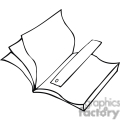 Black and white outline of a book and bookmark
