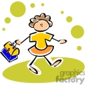 Cartoon whimsical little girl going to lunch with her lunch box