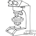 Black and white outline of a magnifying microscope