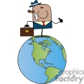 cartoon businessman standing on earth