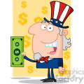 102517-Cartoon-Clipart-Uncle-Sam-With-Holding-A-Dollar-Bill
