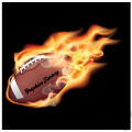flaming college football on black