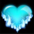 flaming blue heart vector clip art image